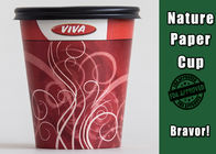 Single Wall Food Grade Recyclable Paper Cups With Lids Flexographic Printing